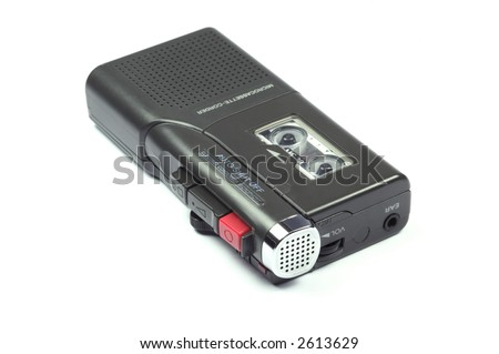 Dictaphone tape recorder isolated on a white background - stock photo