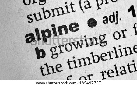 Dictionary definition of the word Alpine - stock photo