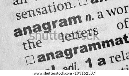 Dictionary definition of the word Anagram - stock photo