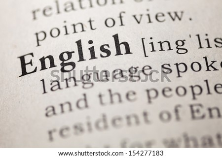 Dictionary definition of the word english.  - stock photo