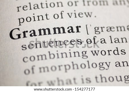 Dictionary definition of the word Grammar.  - stock photo