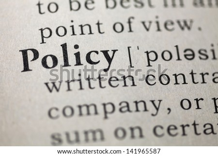Dictionary definition of the word policy. Fake Dictionary - stock photo