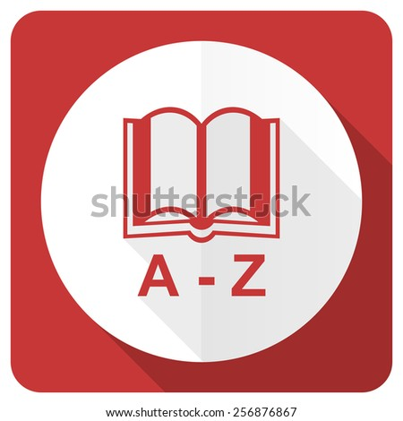 dictionary red flat icon   - stock photo