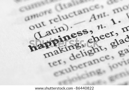 Dictionary Series - Happiness - stock photo