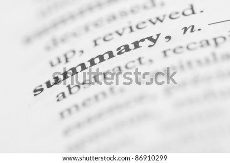Dictionary Series - Summary - stock photo