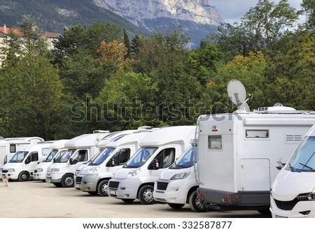 DIE, FRANCE-SEPTEMBER 16:Camper site at the village Die in the Drome department of France.September 16, 2015 Die, France - stock photo