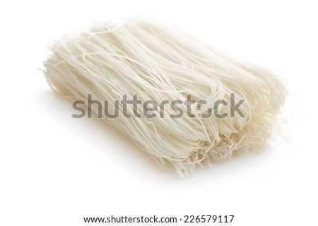 died rice noodles on white background - stock photo