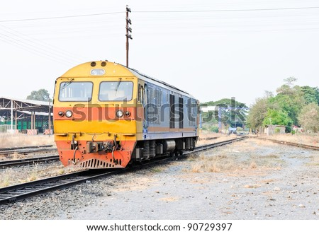Diesel electric  locomotive in the railway yard. - stock photo