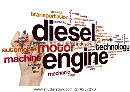 Diesel engine word cloud concept with motor machine related tags - stock photo