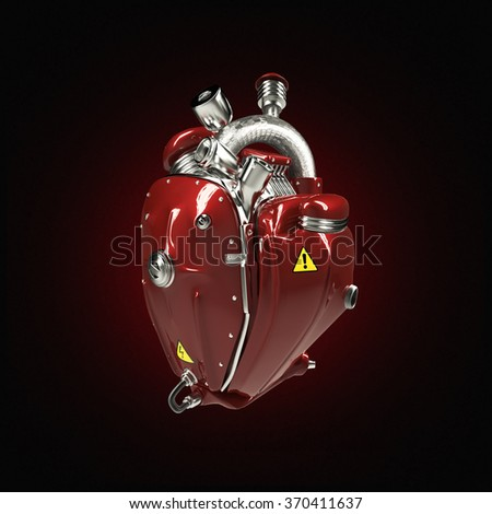 Diesel punk mecha robot techno heart. engine with pipes, radiators and glossy red metal hood parts. bike show rock hardcore poster template - stock photo