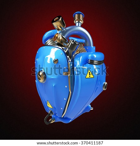 Diesel punk robot techno heart. engine with pipes, radiators and glossy blue metallic hood parts. bike show rock hardcore poster template isolated - stock photo