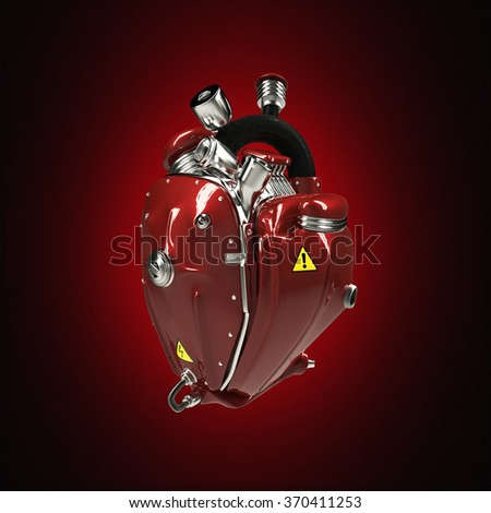 Diesel punk robot techno heart. engine with pipes, radiators and glossy red car paint metal hood parts. bike show rock hardcore poster template isolated - stock photo