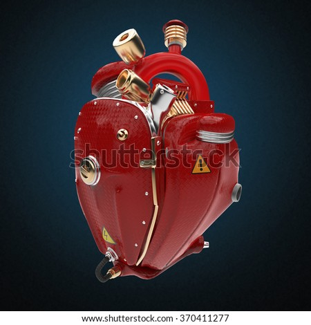 Diesel punk robot techno heart. engine with pipes, radiators and glossy red carbon hood parts. bike show rock hardcore poster template isolated - stock photo