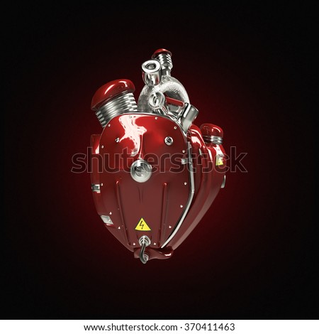Diesel punk robot techno heart. engine with pipes, radiators and glossy red metal hood parts. bike show rock hardcore poster template - stock photo