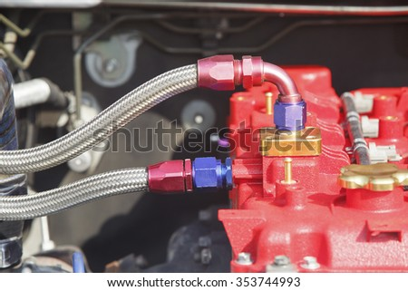 Diesel racing car engine - stock photo