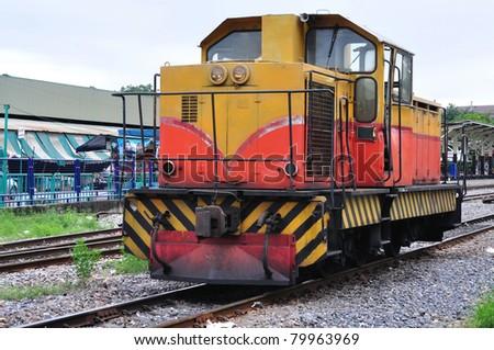 Diesel Train at Thonburi station in Bangkok, Thailand. - stock photo