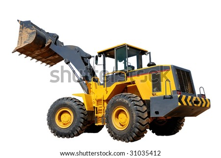 diesel wheel loader with risen bucket isolated - stock photo