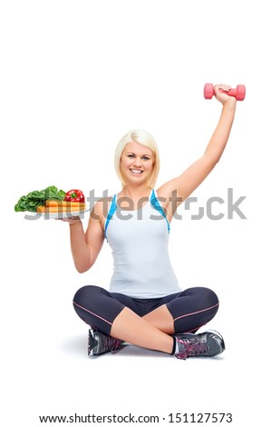 diet and exercise woman healthy lifestyle concept - stock photo