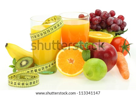 Diet and nutrition. Fresh fruits, vegetables and juice - stock photo