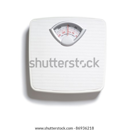 Diet bathroom weight foot scale on white - stock photo