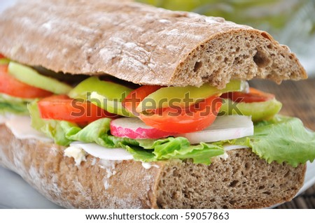 diet brown baguette with vegetable - stock photo