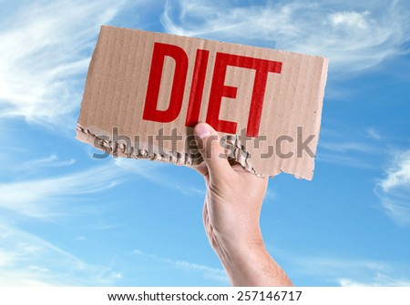 Diet card with sky background - stock photo