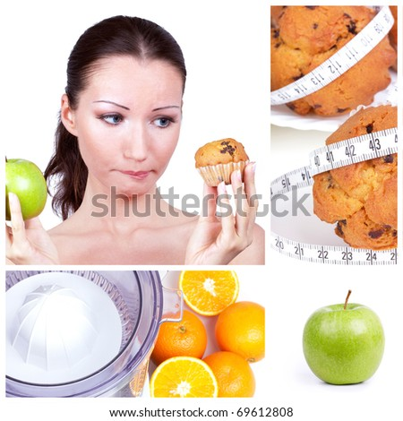 Diet choice collage. Woman in choice - stock photo