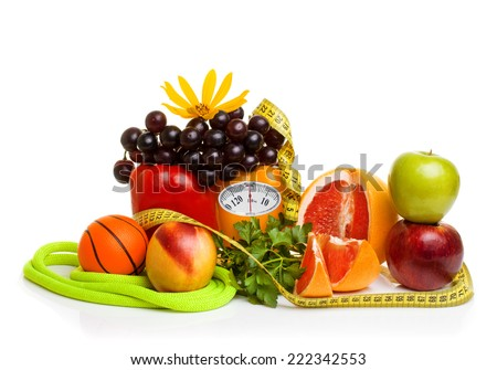 Diet concept. Fitness equipment, healthy food with weight scale isolated on white background - stock photo