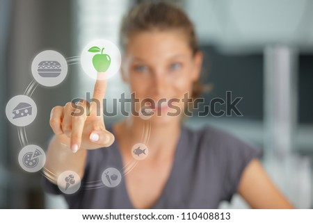 Diet concept. Touch screen food and drink - stock photo