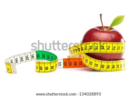 Diet Concept with apple and measuring tape, isolated on white background - stock photo