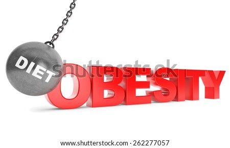 Diet Destroy Obesity Concept.  Wrecking Ball as Diet with Obesity Sign on a white background - stock photo