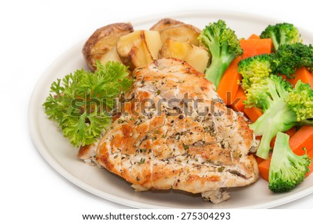 Diet food, Clean Eating, Breakfast, Chicken with Vegetable - stock photo