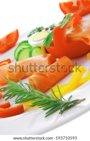 diet food - smoked sea salmon with vegetables on plate isolated over white background - stock photo