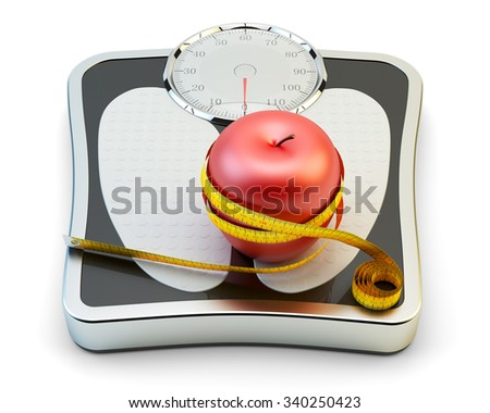 Diet, healthy eating, slimming and weight loss concept, measuring tape wrapped around fresh red apple on bathroom scales isolated on white - stock photo