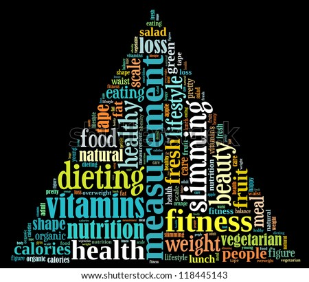 Diet info-text graphics and arrangement concept on black background (word cloud) - stock photo