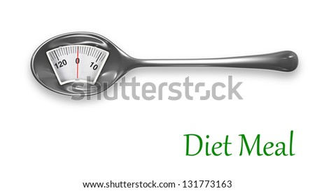 Diet meal. Metal spoon with weight scale - stock photo