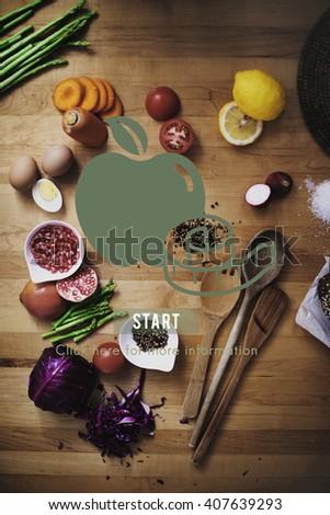 Diet Nutrition Wellness Health Concept - stock photo