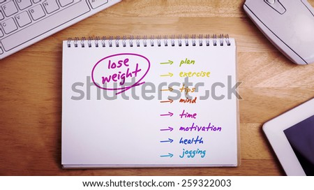 Diet plan against overhead of notepad and technology - stock photo
