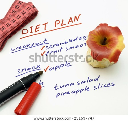 Diet plan with apple, marker and measuring tape - stock photo