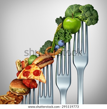 Diet progress change as a healthy lifestyle improvement concept and evolving to accept the challenge of eating raw food and losing weight as a group of rising forks with meal items on them. - stock photo