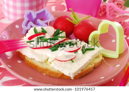 diet spring sandwiches with cottage cheese,cream,chives and radish as breakfast for child - stock photo