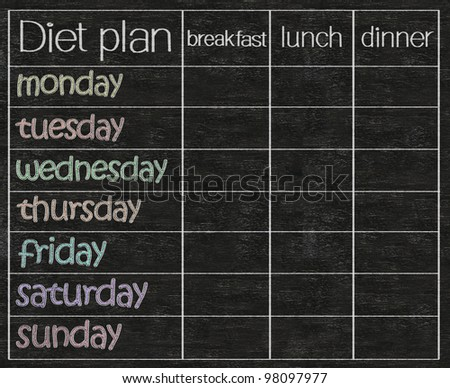 diet weekly planner, diet tracking and planning chart written on blackboard background - stock photo