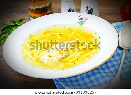Dietary Chicken Broth Soup with Parsley. Studio Photo - stock photo