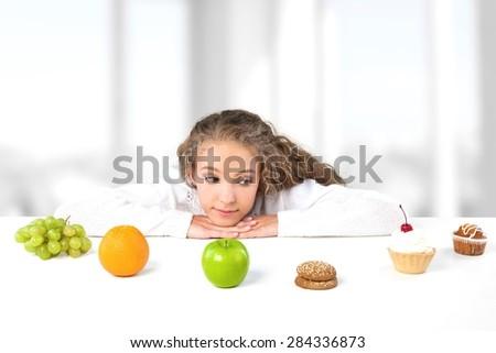 Dieting, Choice, Food. - stock photo