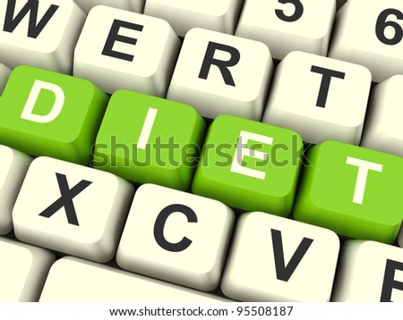 Dieting Computer Keys Showing Slimming Information And Recommendations - stock photo