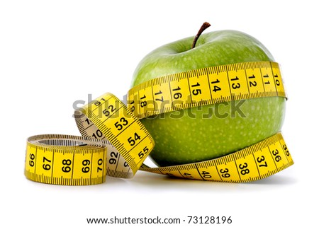 Dieting concept   Green apple with measuring tape on white background - stock photo