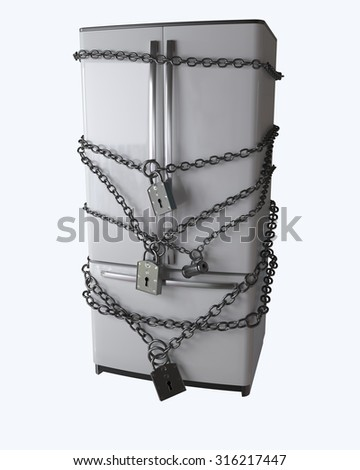 Dieting concept. Refrigerator, chain and lock - stock photo