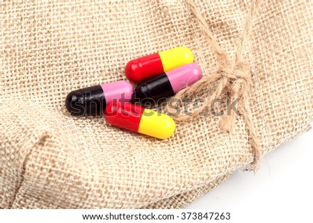 diferent Tablets pills capsule heap mix therapy drugs doctor flu antibiotic pharmacy medicine medica - stock photo