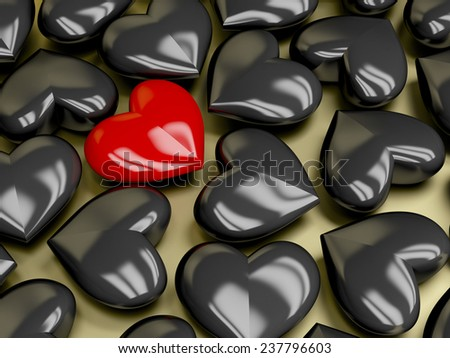 Difference concept with unique red heart - stock photo