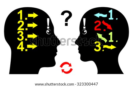 Difference in Logical Thinking. Man and woman differ in their thought pattern and the way they argue - stock photo